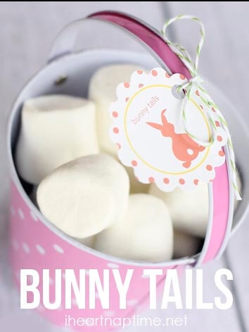 """""""Bunny tails"""" on iheartnaptime.net ... fill a bag/basket with marshmallows and tie your tag on. Cute and easy!"""