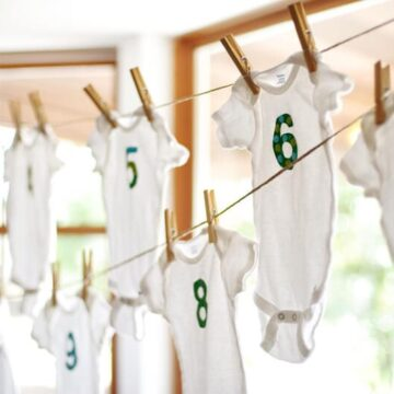 DIY month by month onesies -cute baby shower craft idea!