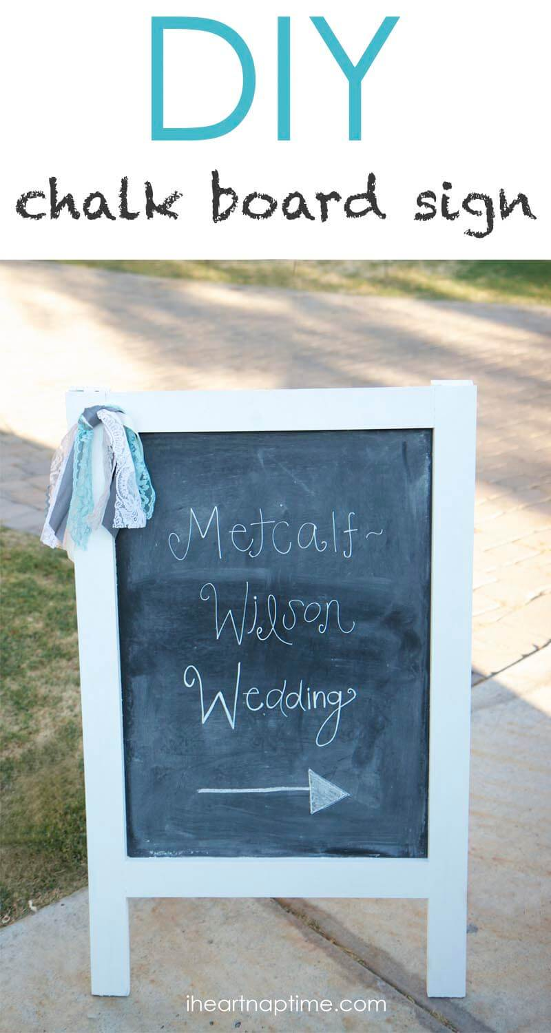DIY chalk board sign....perfect for wedding, showers and parties!