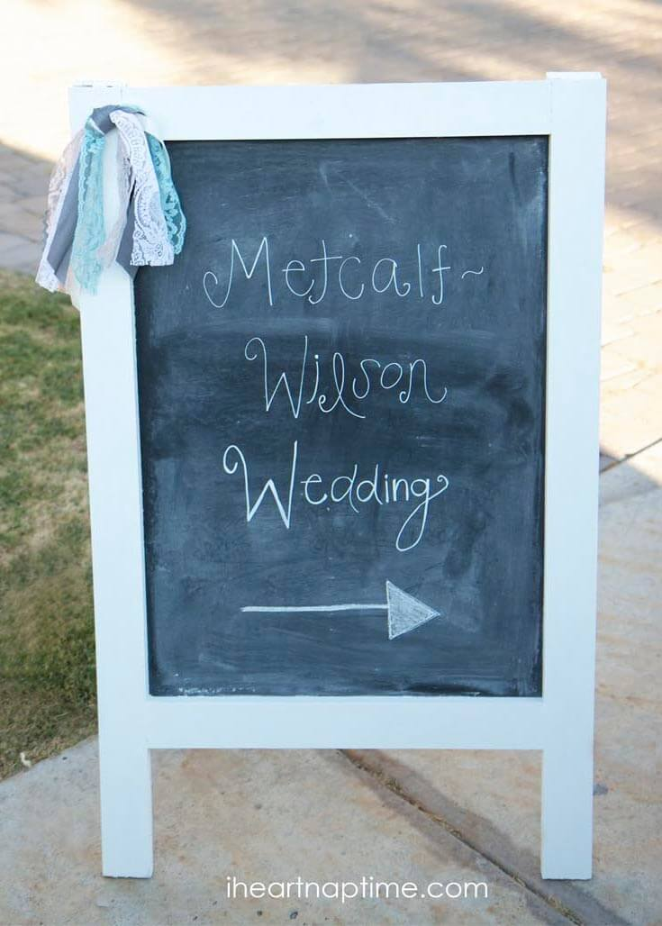 DIY chalk board sign...perfect for weddings, showers and parties!