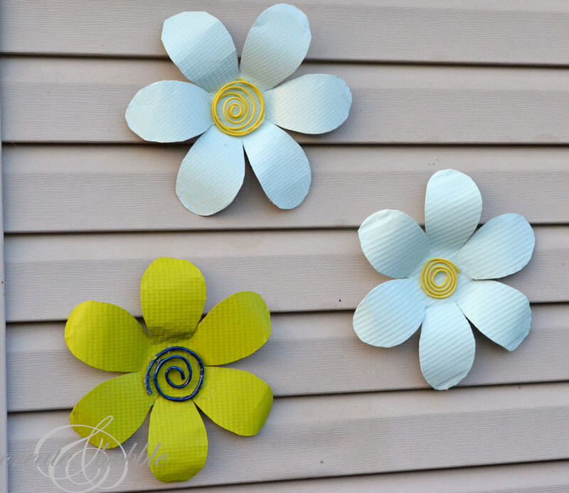 Tin Flowers on wall