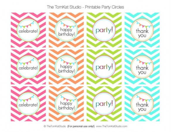 bright chevron party circles