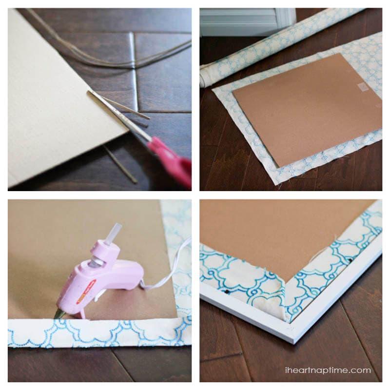 DIY fabric art on iheartnaptime.com ...super easy way to fill a big space! #homedecor