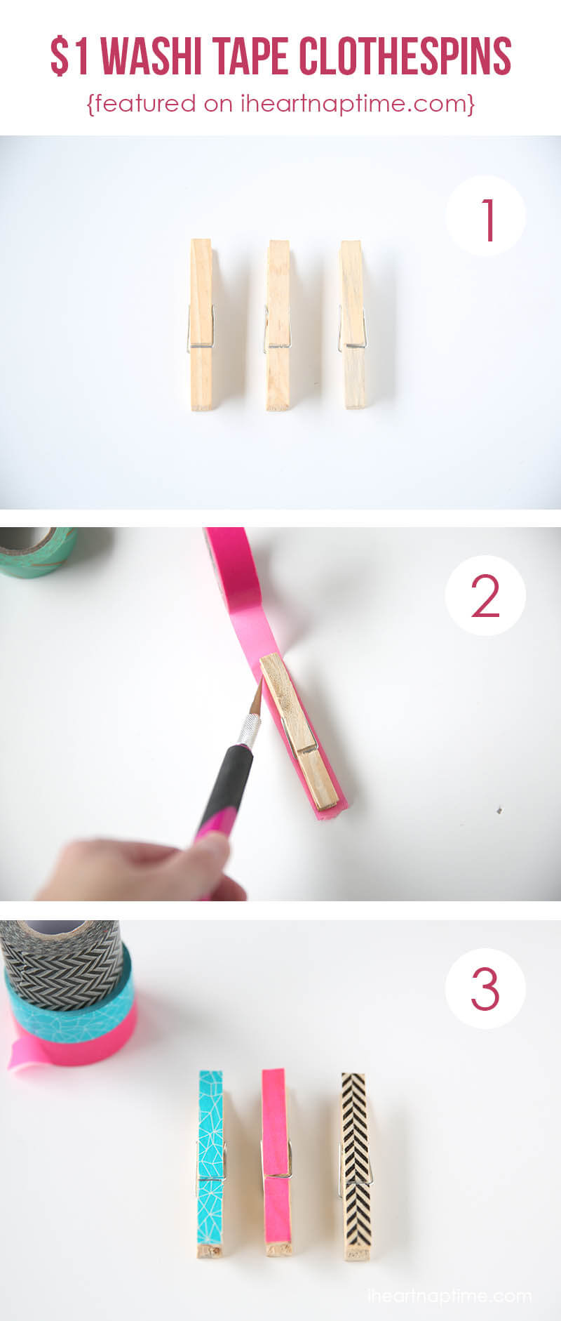 Washi tape clothespins on I Heart Nap Time ...love these!