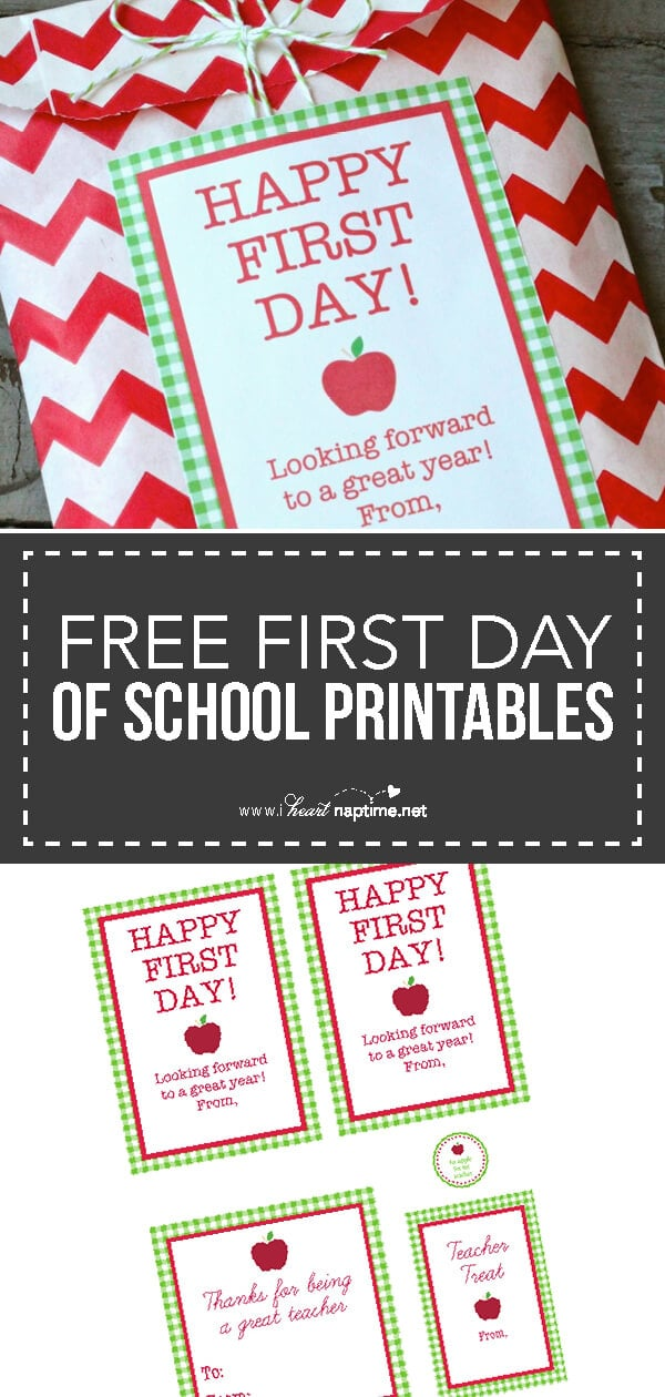 free first day of school printables