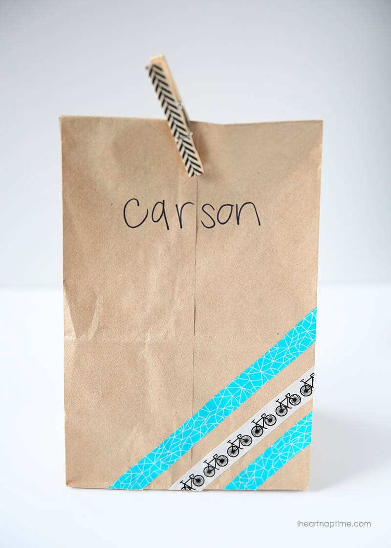 Washi tape lunch bag ...quick and easy way to add personality! #backtoschool