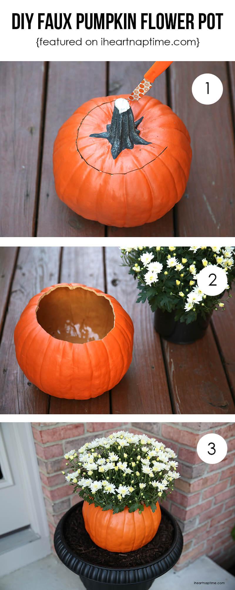 DIY faux pumpkin flower pot tutorial