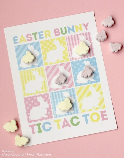 Free printable Easter bunny tic tac toe game