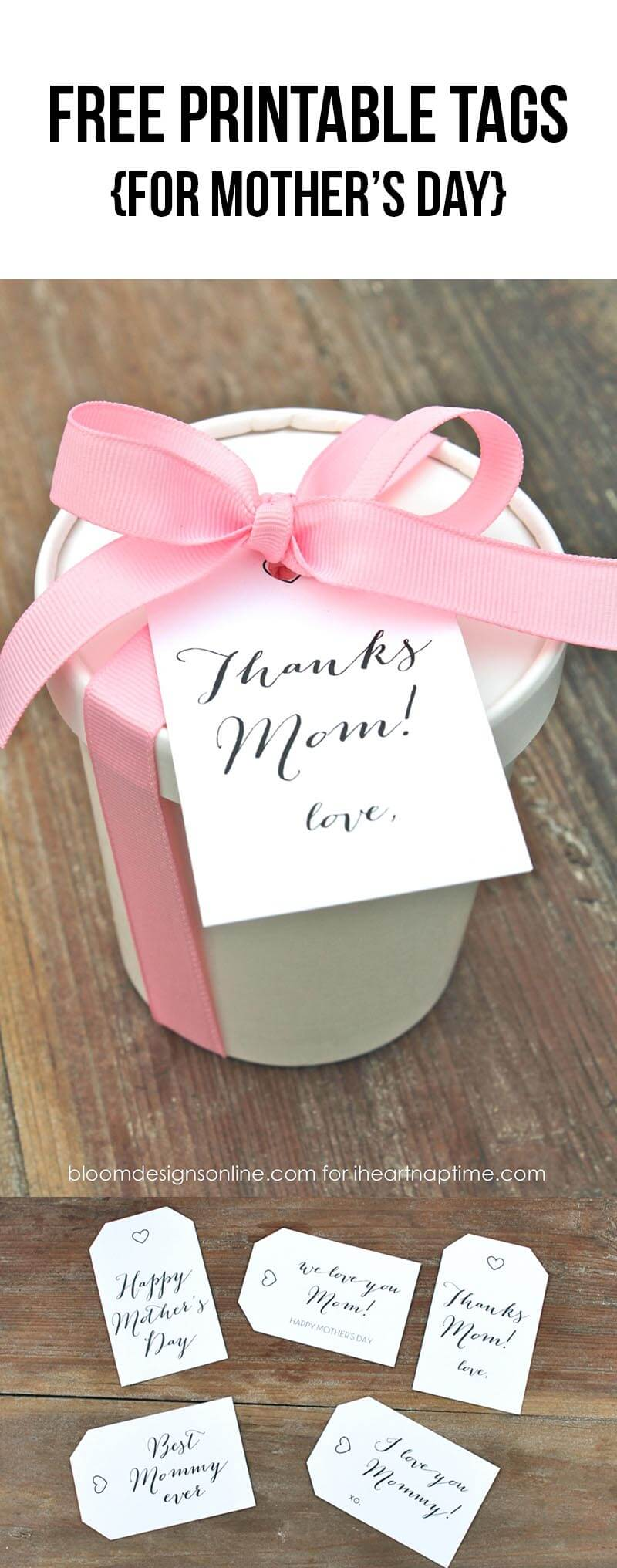 Free printable tags for Mother's Day