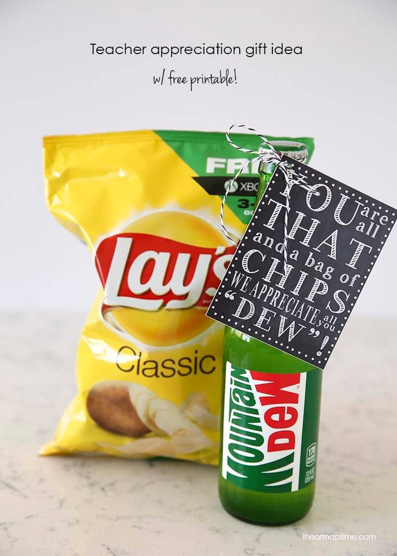 'You are all that and a bag of chips' teacher appreciation gift idea w/ FREE printable!