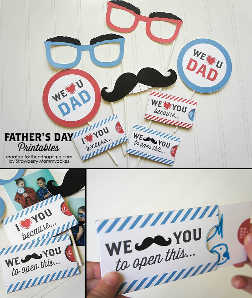 """We Love Dad"" Father's Day Printables on www.iheartnaptime.com #freeprintables #fathersdayprintables #fathersday"
