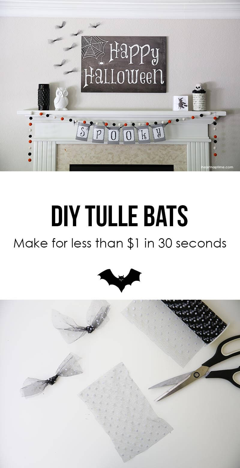 DIY tulle bats ...so cute and EASY! Make a few for less that $1 in 30 seconds!