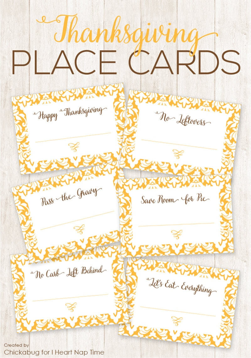 Thanksgiving Place Cards on iheartnaptime.com