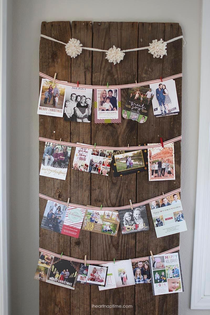 Cute way to hang Christmas cards
