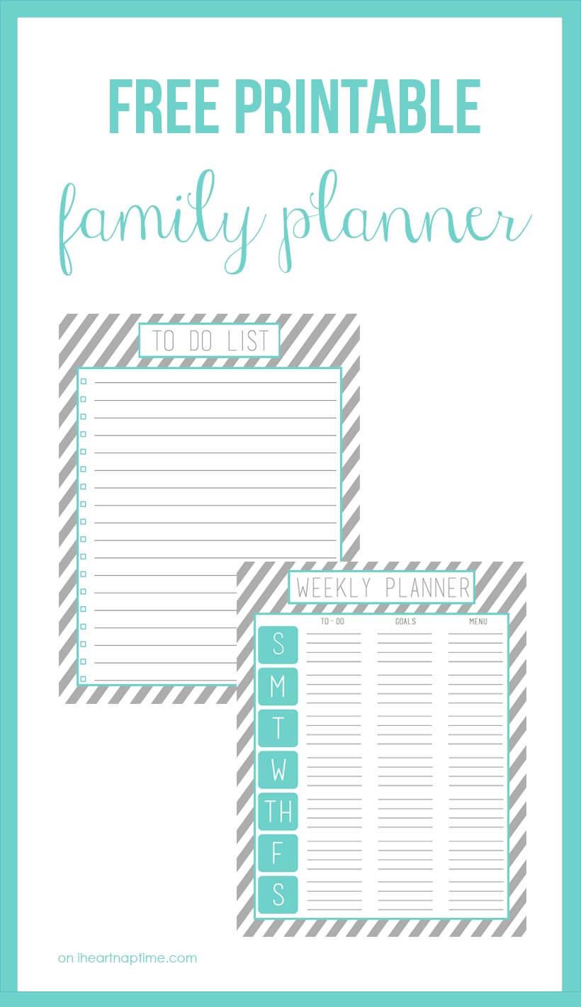 Free printable family planner