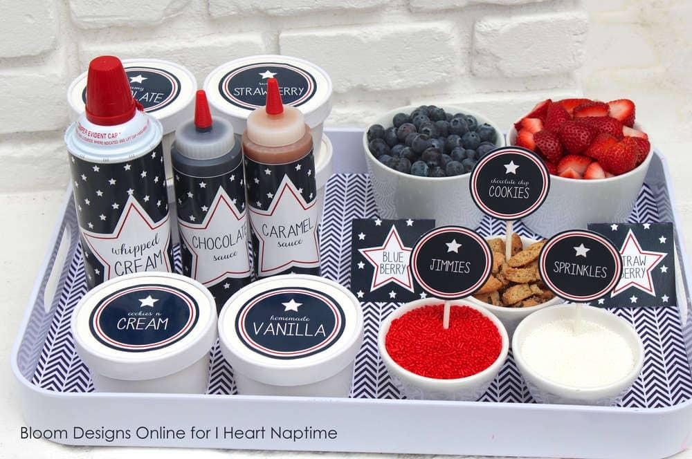 ice cream sundae bar supplies on a tray