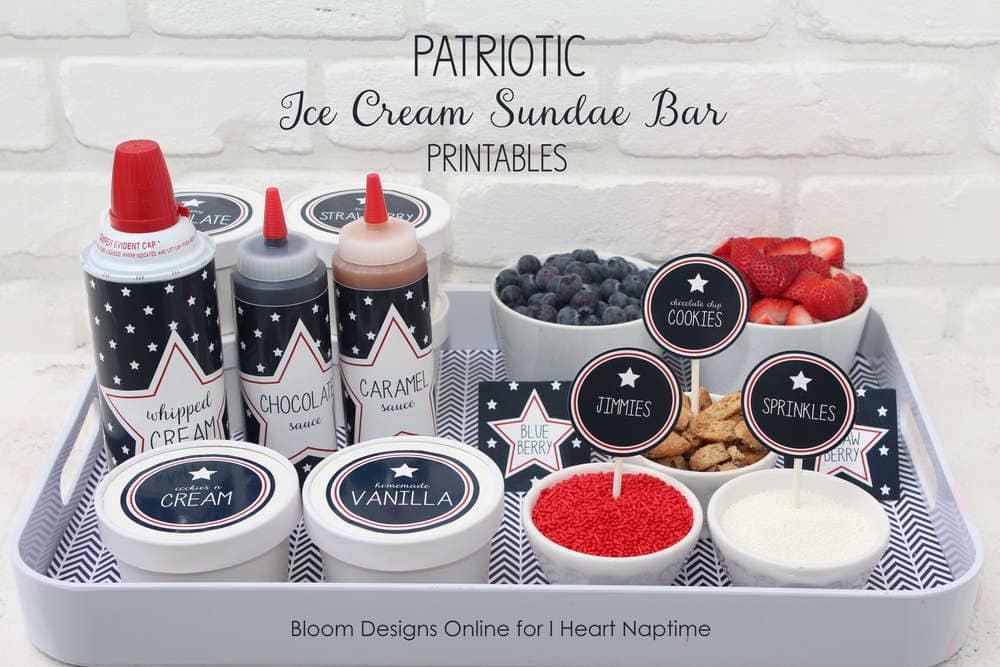 patriotic ice cream sundae bar