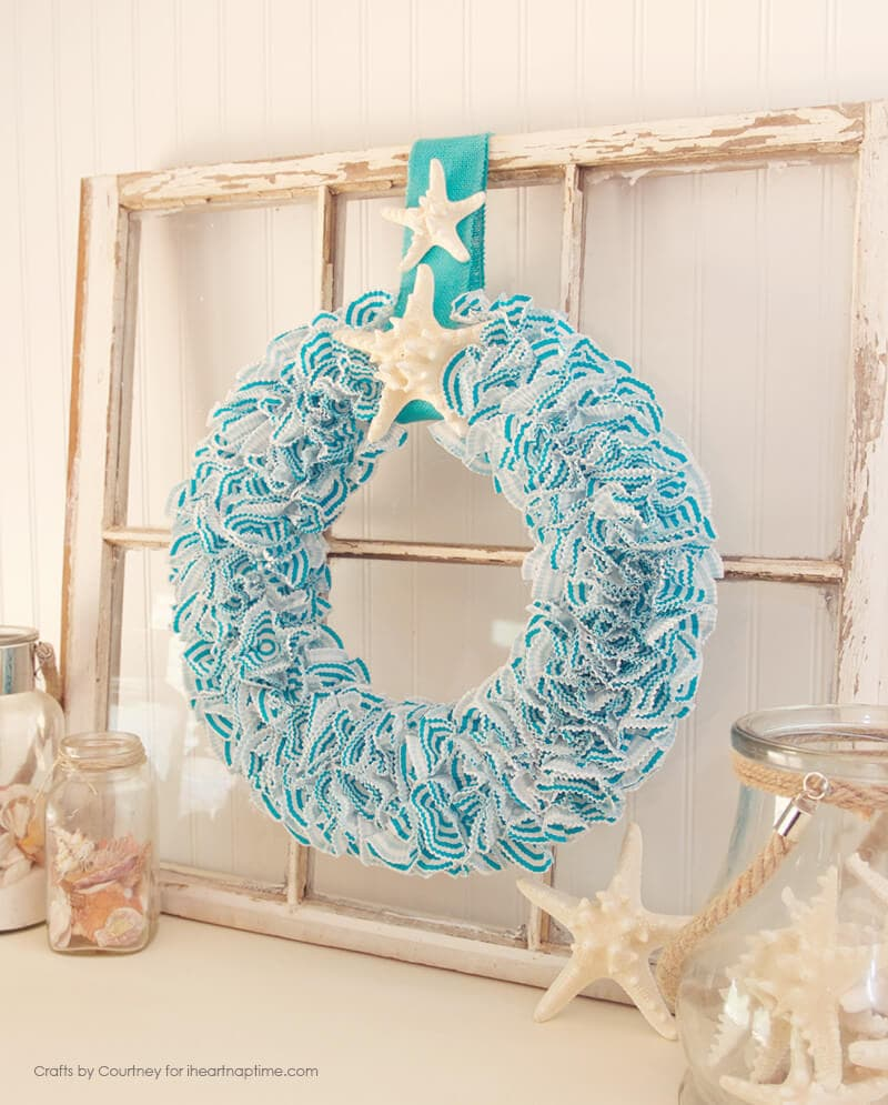 Summer Wreath Using Cupcake Liners