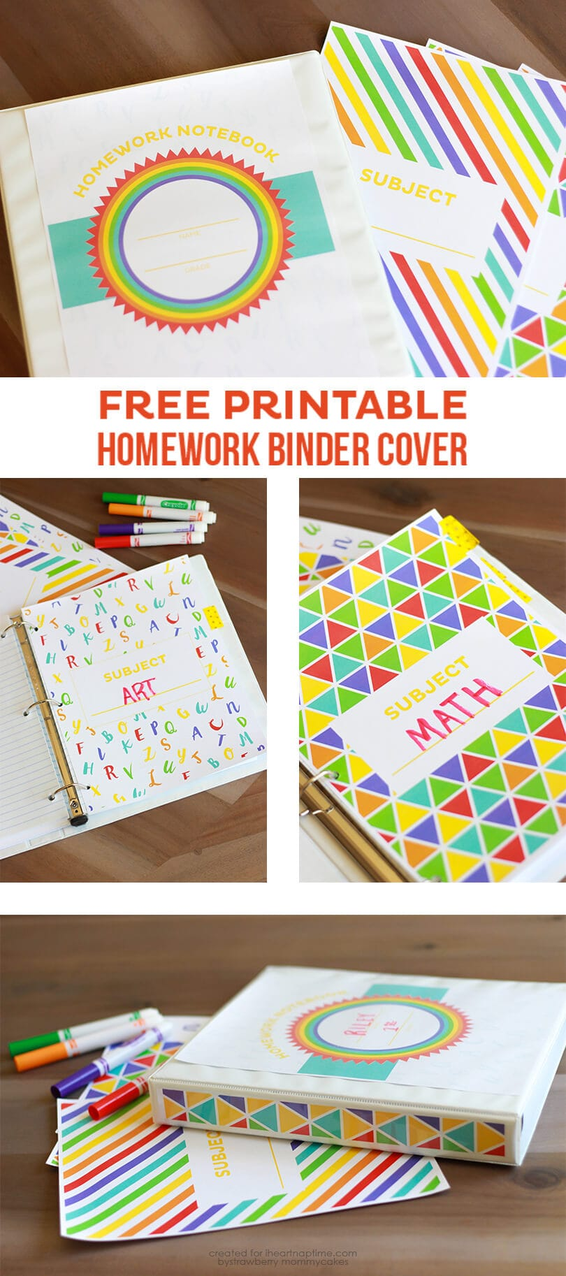 Keep your kids' homework organized with this FREE Printable Homework Binder Cover on iheartnaptime.com