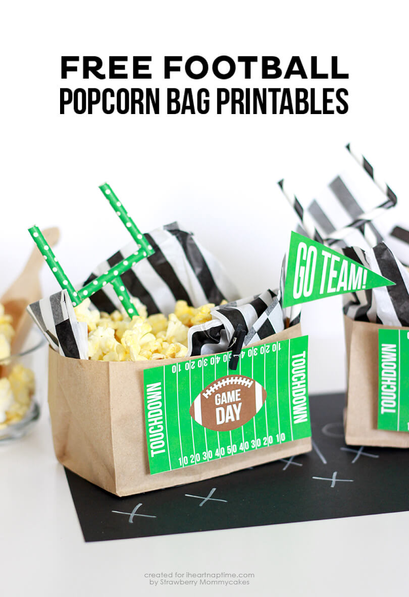 FREE Football Popcorn Bag Printables on iheartnaptime.com