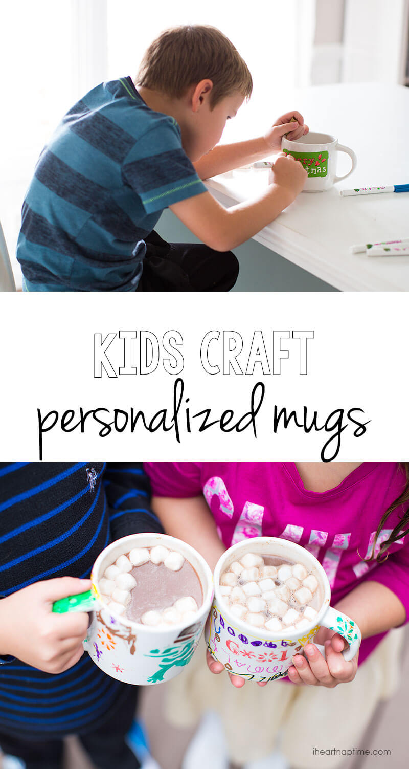 Kids craft personalized mugs - get the instructions at iheartnaptime.com