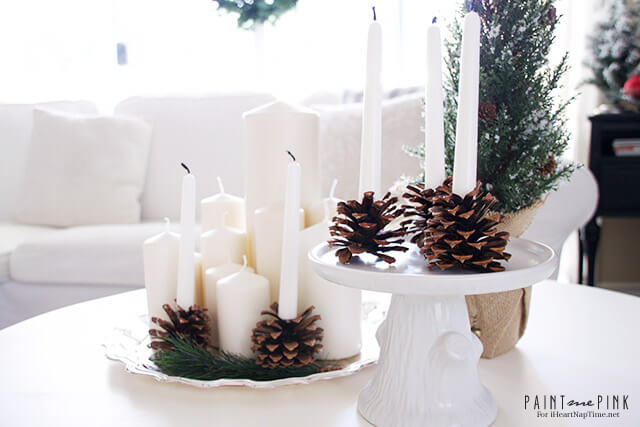 DIY Pine cone Candle Holders - elegant, understated, winter candle holders, perfect for bringing the outdoors in during the winter.