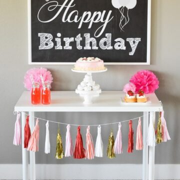 "Free Happy Birthday Backdrop - Quickly decorate your dessert table for a birthday party, by simply adding this ""Happy Birthday"" printable to your display!"
