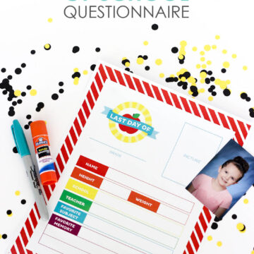 Last Day of School Questionnaire - this keepsake is a fun way to end the school year!