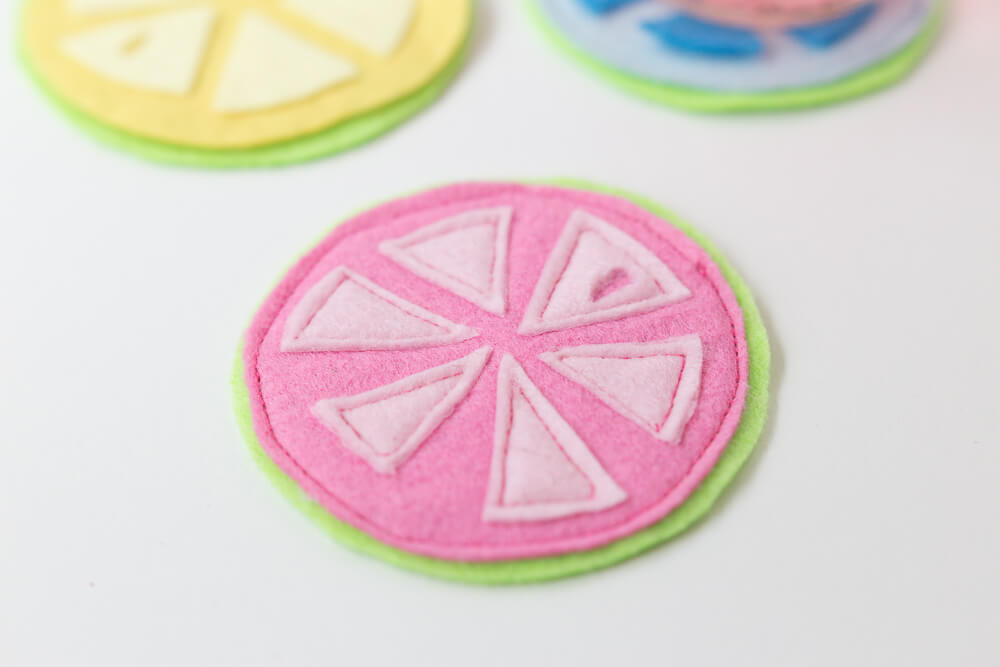 Citrus Coasters - stitching all the elements together