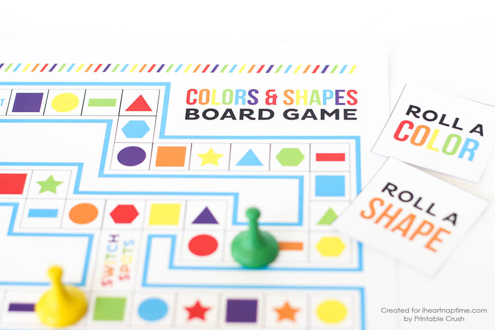 Shapes and Colors Printable Board Game - fun and easy to print at home!