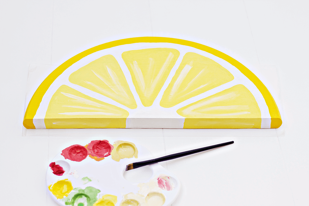 Citrus Fruit Serving Trays - painting in the lemon detail