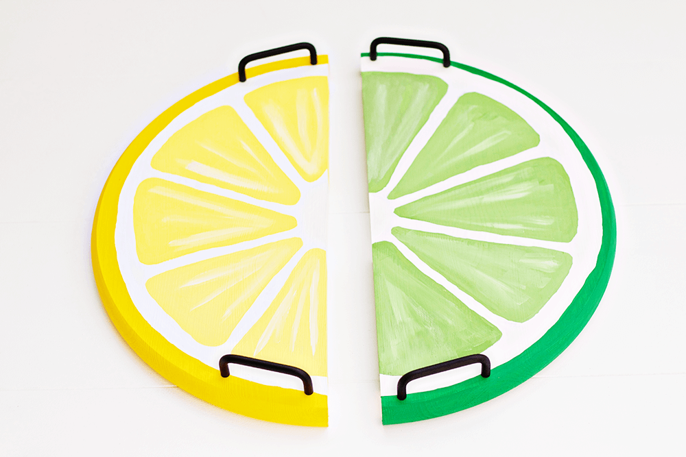 Citrus Fruit Serving Trays - lemon and lime, ready to go! This is a great, easy DIY!