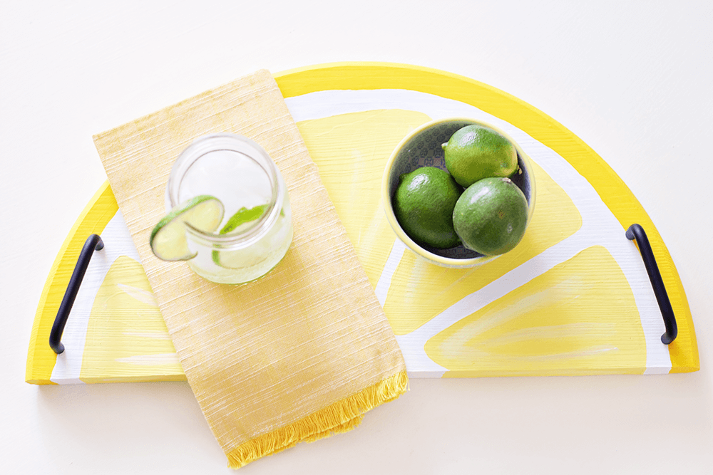Citrus Fruit Serving Trays - lemonade on a lemon tray? Yes, please!
