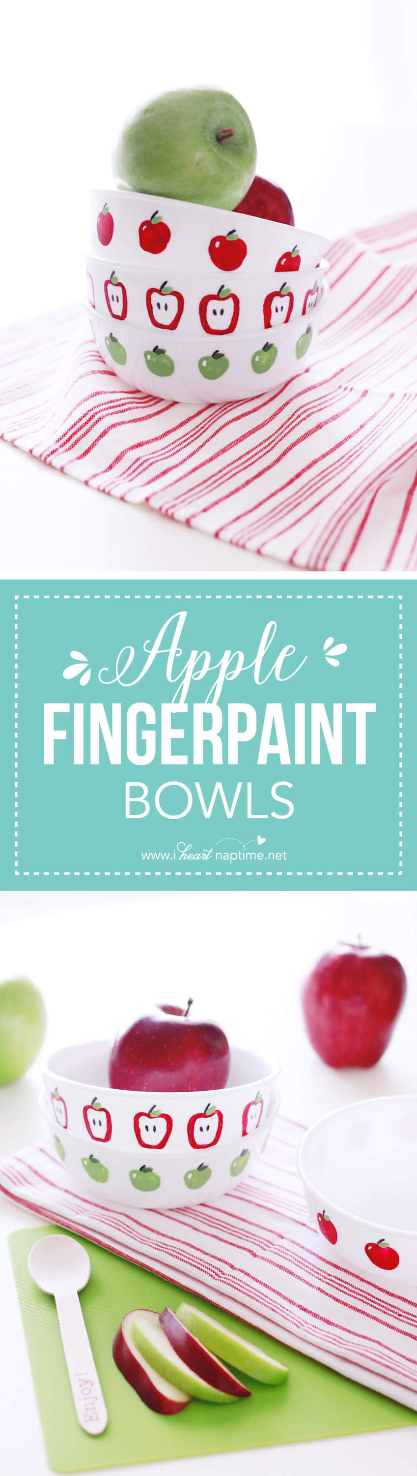 Apple Fingerpaint Bowls... fun finger paint DIY that you and your kids can enjoy making together! Makes a wonderful teacher gift or autumn decoration for your home.