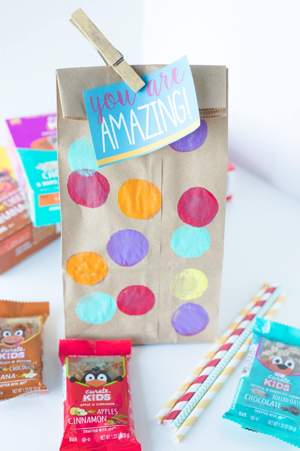 Five Lunchbox Packing Tips... painted lunch bag ready to go!