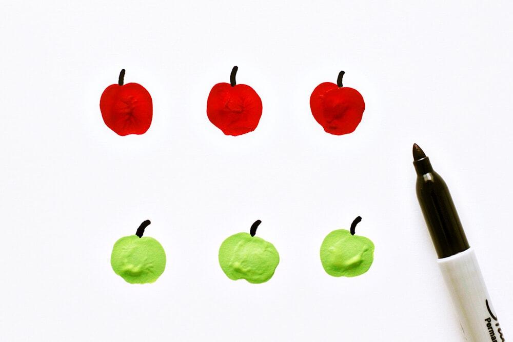Apple Fingerpaint Bowls... adding the stem details