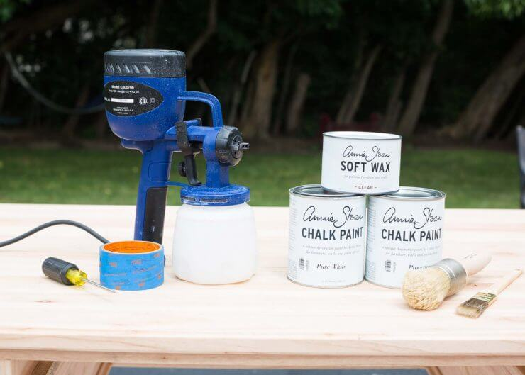 Blue Chalk Paint Desk... gathering all the tools