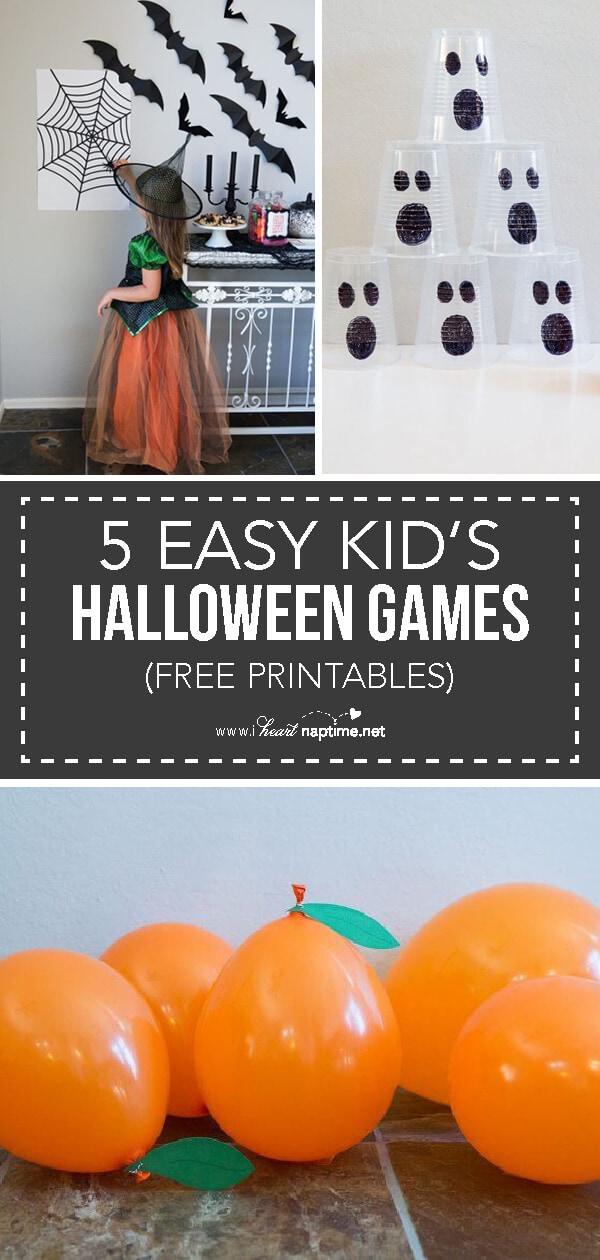 5 EASY Kids Halloween Games Free Printables