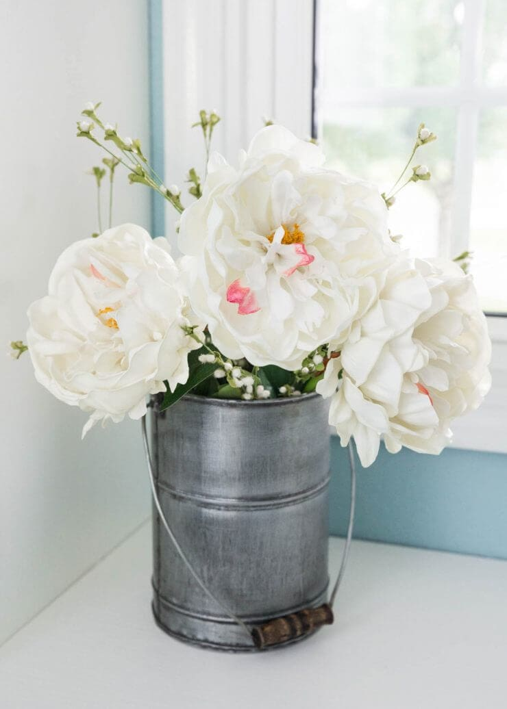 Lovely laundry room makeover and flowers in a can