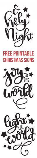 Free printable Christmas designs - O Holy Night - Joy to the World - Light the World