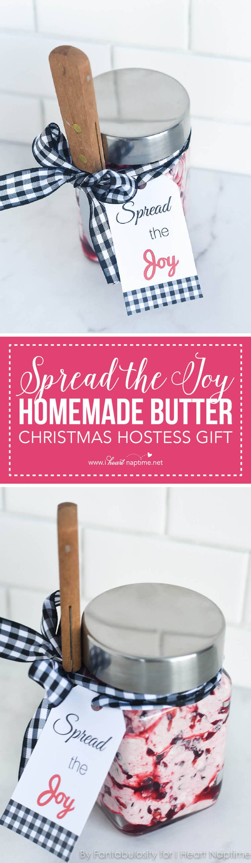 """""""Spread the Joy"""" Homemade Butter Christmas Hostess Gift... an adorable, easy gift to bring along with you, so the hostess can use it for dinner that night or save it for future meals!"""