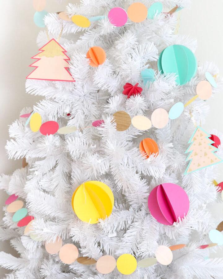 Colorful 3D sewn paper ornaments