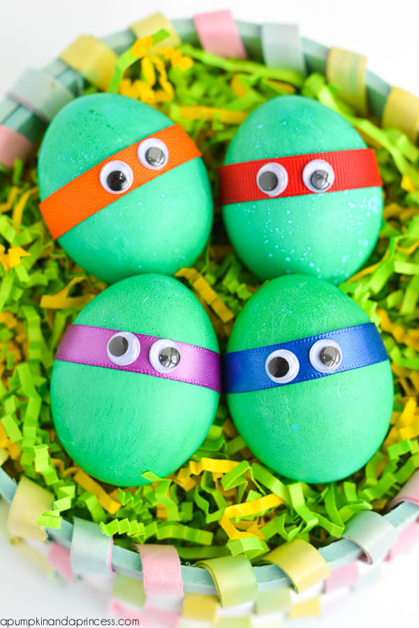 Dyed Ninja Turtles Easter Eggs + 25 Easter Crafts for Kids - Fun-filled Easter activities for you and your child to do together!