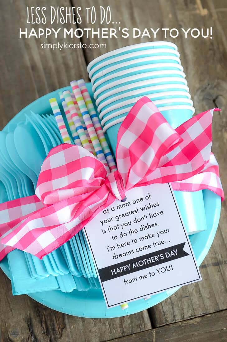 Mother's Day Less Dishes for Mom + 25 Free Mother's Day Printables - Beautiful and easy gift ideas to honor the women who make the world go round!