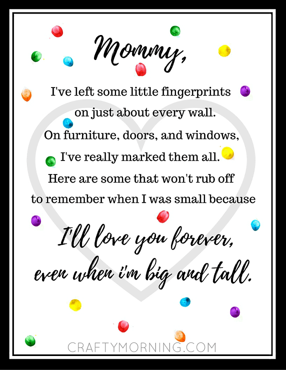 Fingerprint Mother's Day Poem + 25 Free Mother's Day Printables - Beautiful and easy gift ideas to honor the women who make the world go round!