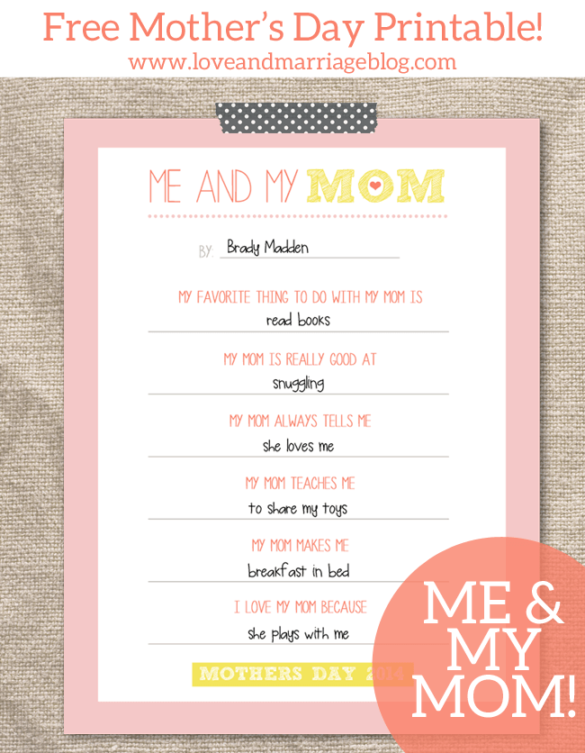 Me and My Mom + 25 Free Mother's Day Printables - Beautiful and easy gift ideas to honor the women who make the world go round!