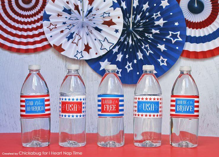 Patriotic Printable Water Bottle Labels + 50 Festive Memorial Day BBQ Ideas...creative ways to kick-off summer and celebrate our freedom while remembering our fallen heroes!