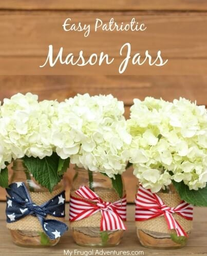 Easy Patriotic Mason Jars + 50 Festive Memorial Day BBQ Ideas...creative ways to kick-off summer and celebrate our freedom while remembering our fallen heroes!