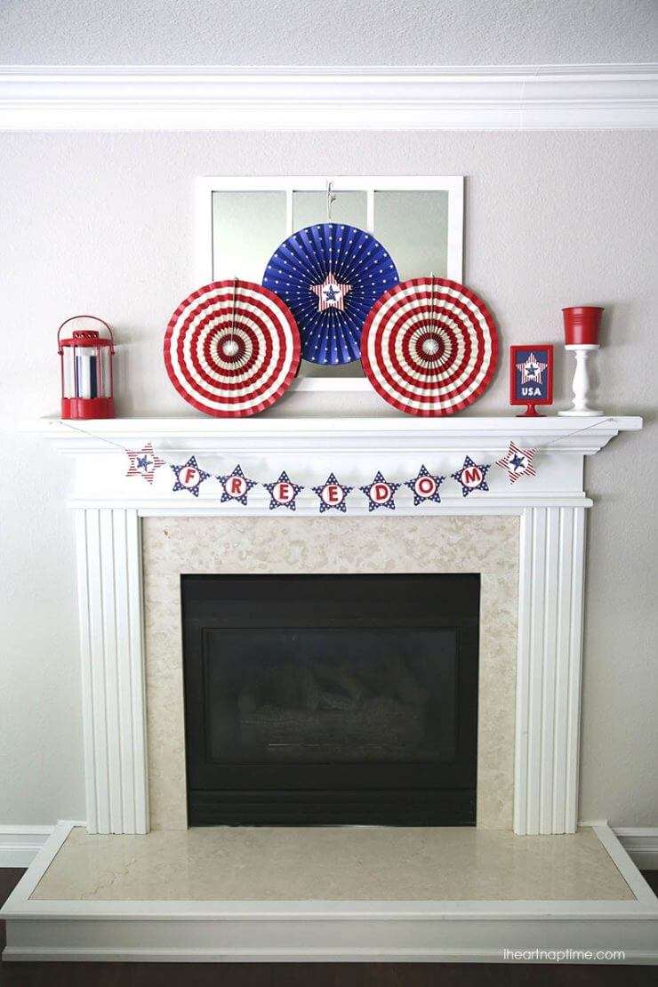 Freedom Mantel Banner + 50 Festive Memorial Day BBQ Ideas...creative ways to kick-off summer and celebrate our freedom while remembering our fallen heroes!
