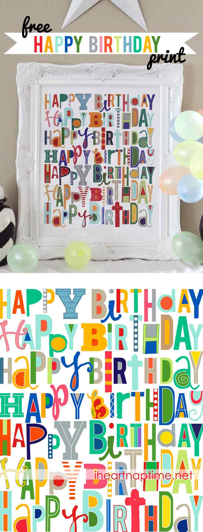 Happy birthday FREE printable -the perfect decoration to bring out on all your family's birthdays!